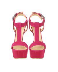 Giuseppe Zanotti Pink Fuchsia Suede Wedge Sandal