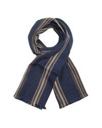 Moreschi Blue Club - Striped Wool Scarf for men