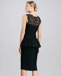 Tadashi Shoji Black Sleeveless Lace Peplum Cocktail Dress