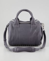 Alexander Wang Gray Rockie Small Crossbody Satchel Dark Purple