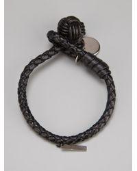 Bottega Veneta Black Woven Leather Bracelet for men