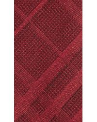 Burberry - Red Check Wool Silk Tie for Men - Lyst