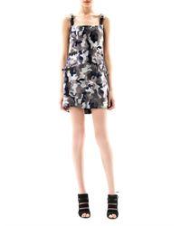 Christopher Kane Gray Camouflage Print Kilt Dress