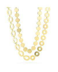 COACH - Metallic Double Wrap Disk Necklace - Lyst
