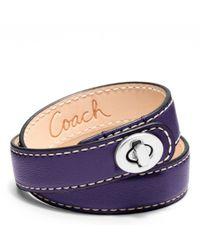 COACH   Metallic Leather Double Wrap Turnlock Bracelet   Lyst