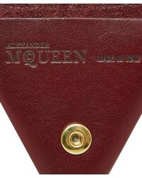Alexander McQueen Brown Burgundy Triangle Leather Coin Pouch for men