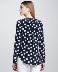 Equipment White Lyle Polka-dot Washed-silk Top