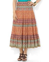 Lauren by Ralph Lauren | Multicolor Paisley Tiered Cotton Skirt | Lyst