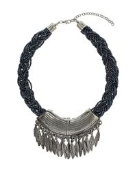 TOPSHOP - Blue Plaited Bead Leaf Charm Collar - Lyst
