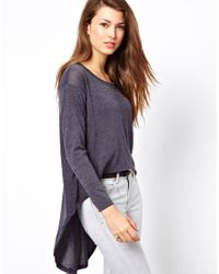 Wal-G Gray Lightweight Jumper with Dipped Hem