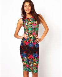 ASOS - Multicolor Reflection Floral Sleeveless Midi Dress - Lyst
