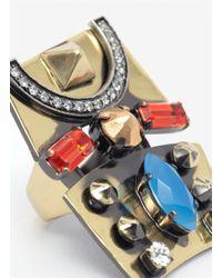 Iosselliani - Metallic Decorated Metal Plate Ring - Lyst