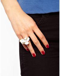 Kenneth Jay Lane White Elephant Ring