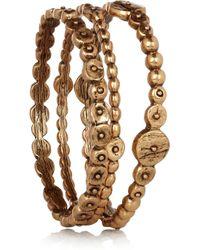 Oscar de la Renta | Metallic Set Of Three Goldplated Bracelets | Lyst