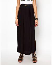 River Island - Black Maxi Skirt with Aztec Belt - Lyst
