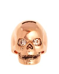 Wildfox - Metallic Rose Gold Skull Ring with Swarovski Stone - Lyst