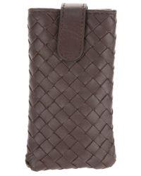 14b7597c42a2 Lyst - Bottega Veneta Woven Iphone Case in Brown