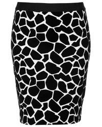 TOPSHOP - Black Flocked Giraffe Print Pencil Skirt - Lyst