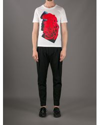 Paul Smith Pink Rose Print T-shirt for men