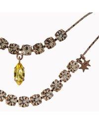 Stella McCartney Metallic Rose Gold Brass and Stones Double Pendant Necklace