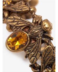 Alexander McQueen Metallic Crystal-embedded Bees Toggle Bangle
