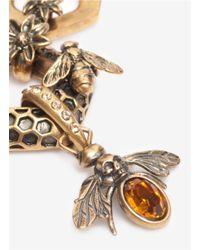 Alexander McQueen - Metallic Honeycomb Bee Skull Necklace - Lyst