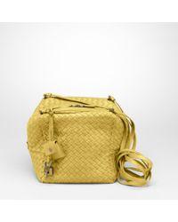 Bottega Veneta Yellow Appia Intrecciato Nappa Cubo Cross Body Bag