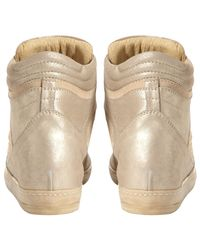 Dune Metallic Limelight Leather Studded Hidden Wedge Trainers