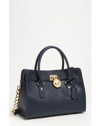 MICHAEL Michael Kors | Blue 'medium Hamilton' Saffiano Leather Satchel | Lyst