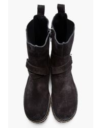 Neil Barrett Black Charcoal Grey Suede Banded Boots for men