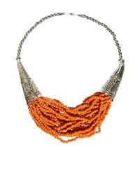Sam Ubhi | Orange Statement Beaded Necklace | Lyst