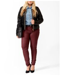 Forever 21 Black Plus Size Chain Trim Faux Leather Jacket