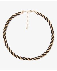 Forever 21 | Metallic Faux Suede Woven Necklace | Lyst