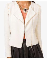 Forever 21 Natural Studded Tweed Jacket