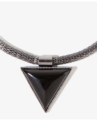 Forever 21 - Gray Triangle Pendant Necklace - Lyst