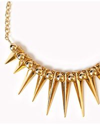 Forever 21 - Metallic Spiked Fringe Rolo Chain Necklace - Lyst
