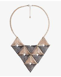 Forever 21 - Metallic Colorblocked Geo Bib Necklace - Lyst