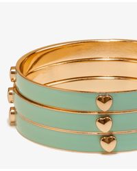 Forever 21 Green Lacquered Heart Bangle Set