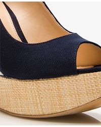 Forever 21 - Blue Raffia-Trimmed Striped Wedges - Lyst