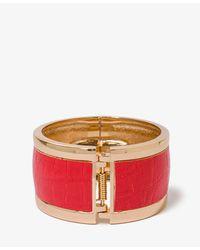 Forever 21 | Orange Faux Croco Hinge Bracelet | Lyst