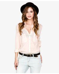 Forever 21 - Pink Woven V-neckline Shirt - Lyst