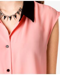 Forever 21 - Pink Colorblocked Collar Top - Lyst
