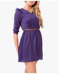 Forever 21 Orange Vertical Striped Dress W Belt