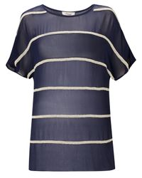 Somerset by Alice Temperley Blue Somerset By Alice Temperley Embellished Stripe Top Navycream