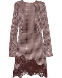 Stella McCartney | Red Lace Trimmed Printed Silk Dress | Lyst