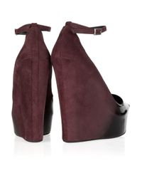Theyskens' Theory - Black Ombré Patent-leather And Suede Wedges - Lyst