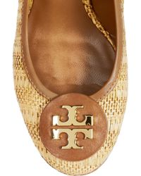 Tory Burch - Natural Sally Raffia and Leather Wedge Pumps - Lyst