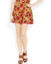 Saint Laurent Red Poppy-print Crepe Shorts