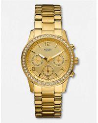 Guess Metallic Ladies Spectrum Crystal Goldtone Chronograph Watch