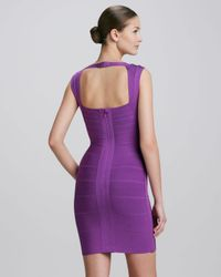 Hervé Léger Purple Crisscross Openback Bandage Dress Bright Violet